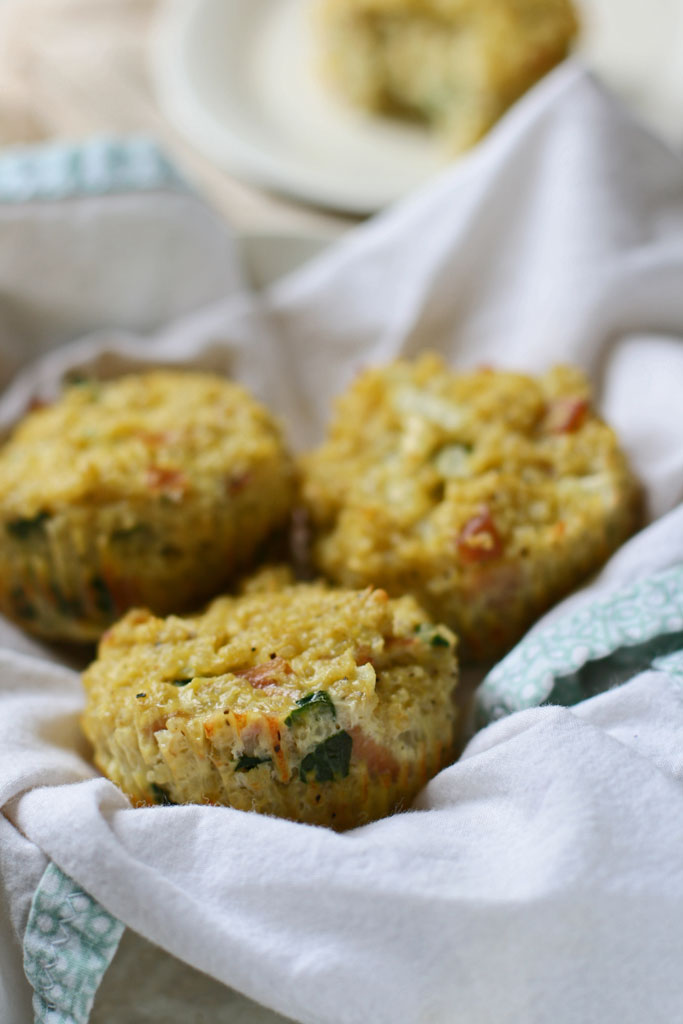Savory quinoa muffins that can be made ahead of time and frozen for a quick snack.