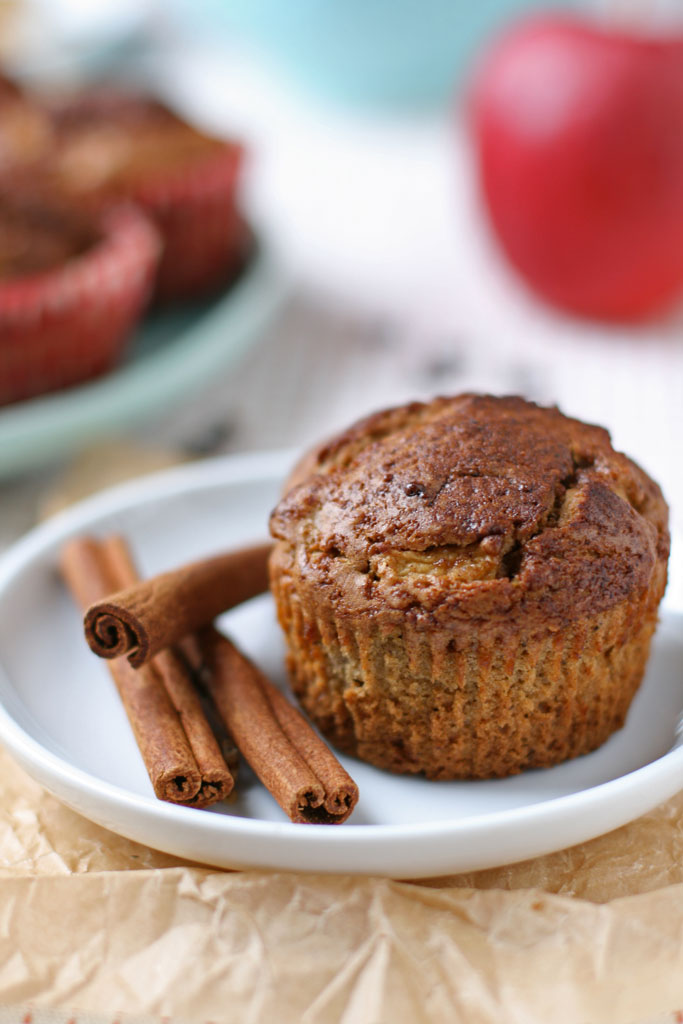 Celebrate the flavors of Fall with these Apple Cinnamon Muffins topped with cinnamon vanilla coconut sugar. Freeze for later use if wanted.
