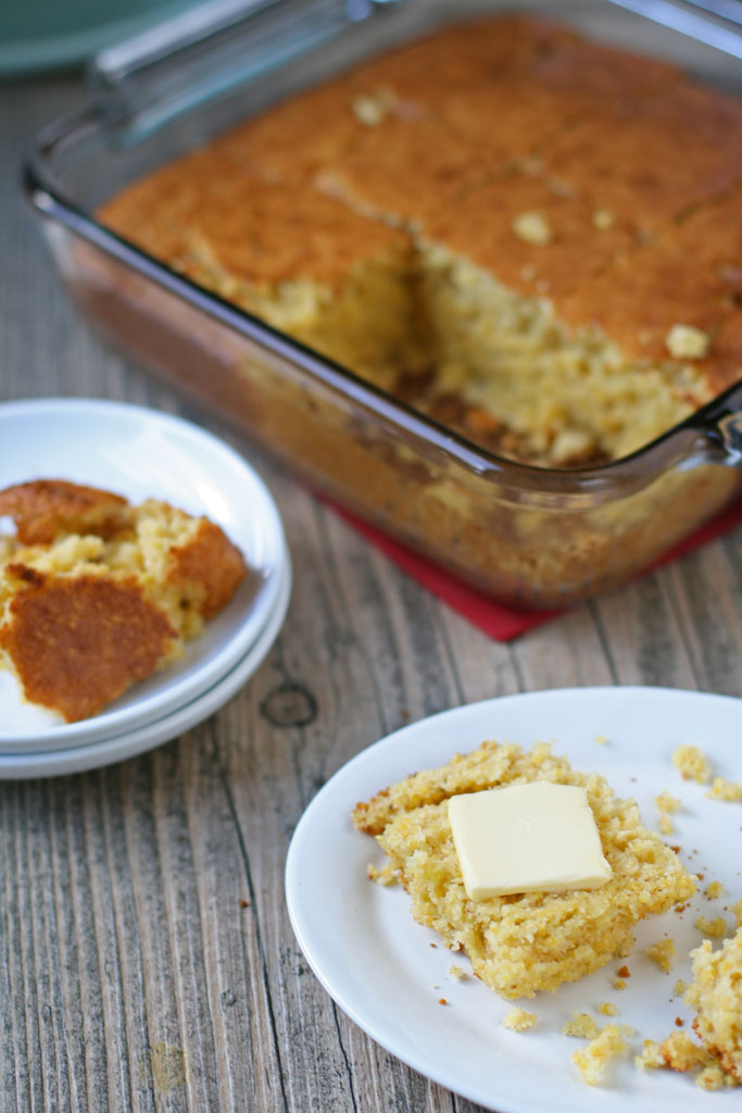 This moist maple cornbread is so amazing! The milk makes it moist, the maple syrup adds a hint of sweetness, and the medium grind cornmeal adds a crunch.