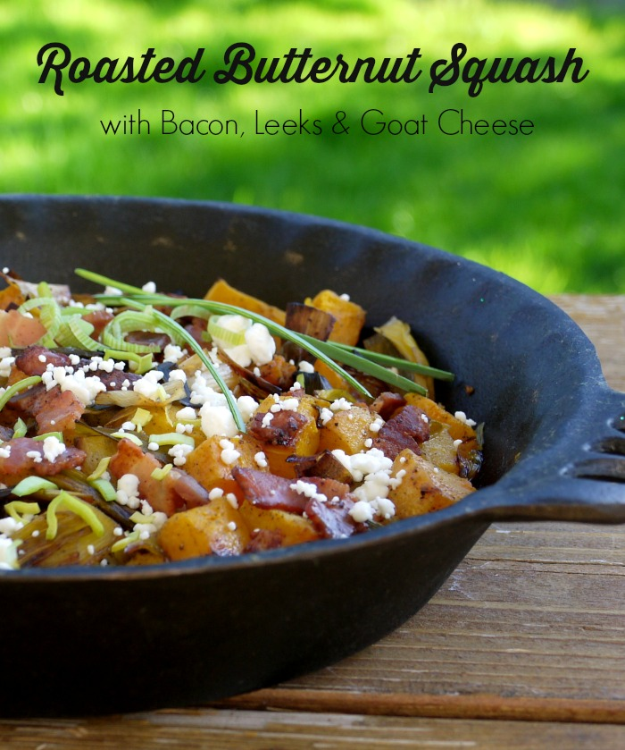 how to use butternut squash - squash with bacon, leeks and cheese